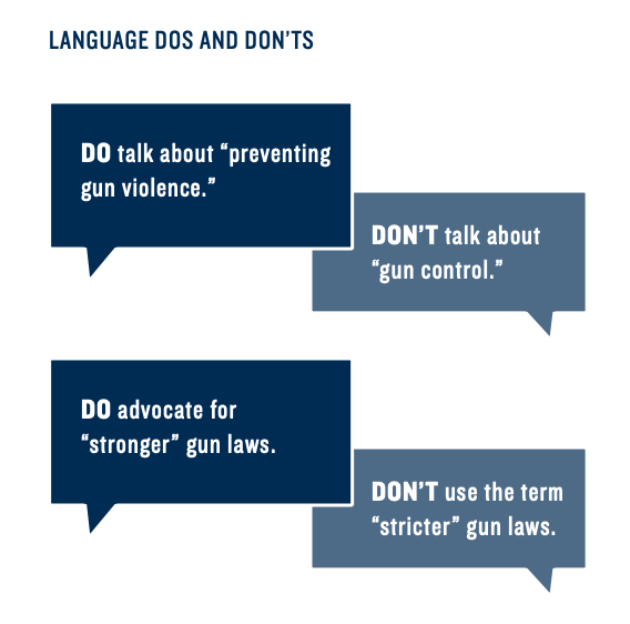 """Language Dos and Don'ts"" from gun control messaging guide"